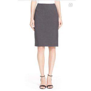 Theory 4 Charcoal Gray Wool Pencil Skirt Back Slit